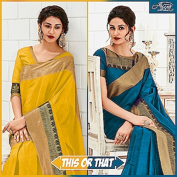 Which of these do you want to adorn this festive season,   Sunshine Yellow or Peacock Blue?  Do let us know your pick in comments below.  Pick now >> http://bit.ly/2LMTCgs    #indian-festival #saree #cottonsaree #designer-saree #beautifying-saree #yellowsaree #bluesaree #sareeindia #traditionalstyle