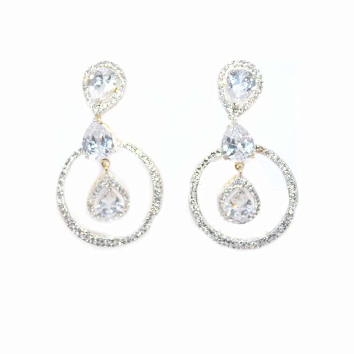 Jewelo American Diamond Full Round Earrings for Women.  #earrings #earringsforgirls #partywearearrings