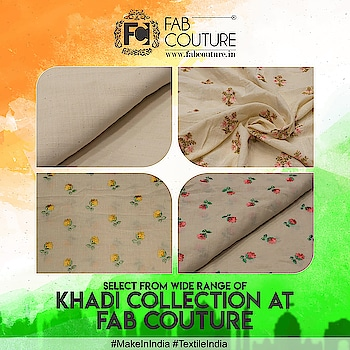 Select from wide range of #Khadi collection at FabCouture!! #MakeInIndia #TextileIndia  Grab your fabric at : https://fabcouture.in/ #FabCouture! #DesignerFabric at #AffordablePrices #DesignerDresses #Fabric #Fashion #DesignerWear #ModernWomen #DesiLook #Embroidered #WeddingFashion #EthnicAttire #WesternLook #affordablefashion #GreatDesignsStartwithGreatFabrics #LightnBrightColors #StandApartfromtheCrowd #EmbroideredFabrics