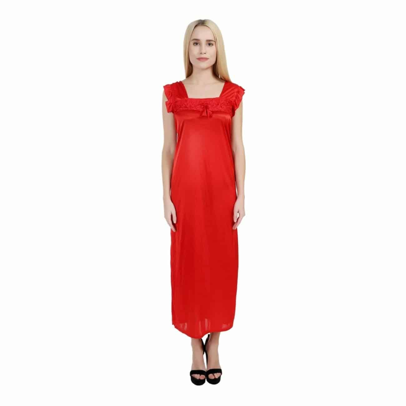 SSIYAA Women's Red Nighty | Designer Satin Red Nightdress for Women (Free Size)  https://www.amazon.in/dp/B07FPKFZLH  #nighty  #nightsuit #nightwear #nightyforwomen