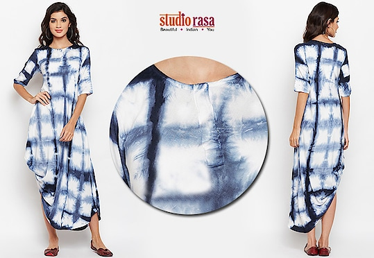 Make a style statement with this cotton viscose cowl kurta. The kurta features a beautifully draped one sided cowl, with a geometric hand tie and dyed look. Team it up with slim fit pants or wear it as a dress with silver hoops and loafers for a chic casual look.  https://9rasa.com/collections/sr-kurtas  #tieanddye #handmade #cotton #casual #trend #easywear #indowestern #gota #silver #tassles #elegant #cottonpants #denimpants #plazzo #9rasa #studiorasa #hemline #young #celebration #kurta #bold #contemporary #sale #independenceday #fall #fallfashion #fashion #discount #ethnic #ethnicwear #onlineshopping #coral #blue #shopnow