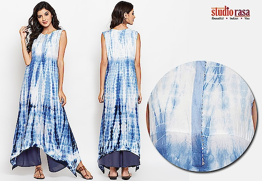 Keep it simple yet stylish with this cotton viscose kurta. This sleeveless kurta features a beautifully hand tie and dyed look with an asymmetric hem. It comes with a solid hook-down placket highlighted with a silver gota for easy wear. Team it up with denims or white cotton pants for a complete look.  https://9rasa.com/collections/sr-kurtas  #tieanddye #handmade #cotton #casual #trend #easywear #indowestern #gota #silver #tassles #elegant #cottonpants #denimpants #plazzo #9rasa #studiorasa #hemline #young #celebration #kurta #bold #contemporary #sale #independenceday #fall #fallfashion #fashion #discount #ethnic #ethnicwear #onlineshopping #coral #blue #shopnow