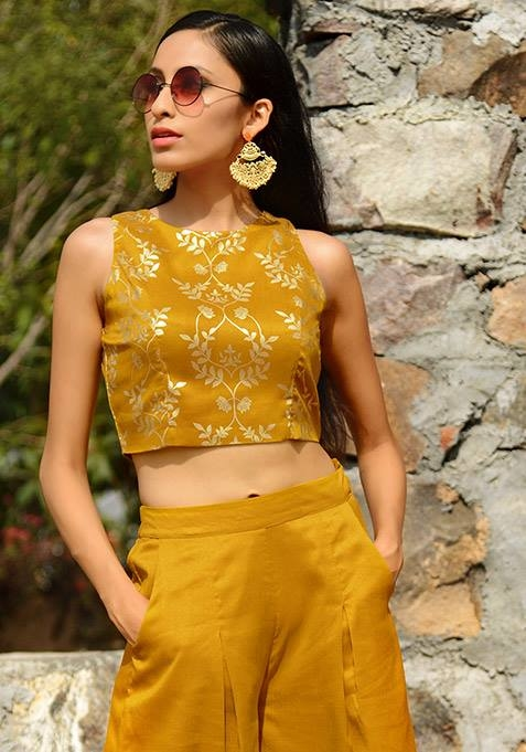 Here's a real deal - Get this Mustard Leaf Print Silk Crop Top from our Fall Festive Edit at 20% OFF today! Shop Now:  https://goo.gl/SQuRda  #ropo-good #ropo-style #indowesternlook #ethnicwearonline #kurtisforwomen #indya #super  #independencedaysale