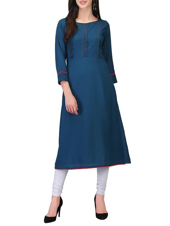Blue Viscose A-Line Kurta  brand name :  printemps color :  blue fabric :  viscose lining material :  none length (inches) :  43 work :  pintucks attached sleeves :  yes sleeves material :  viscose neck type :  round sleeves :  three quarter  #women #clothing #designer #stylish #printed #Fashionable #womensfashion #womenskurti #uniquesesign #top #womenstop   Buy Now:- https://bit.ly/2LHNqWb