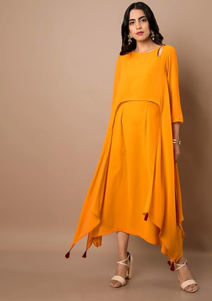 Slip into this easy breezy Mustard High Low Cape Maxi Tunic for a relaxed chic look! Get it here at FLAT 40% OFF -    https://goo.gl/9Enq4T  #ropo-good #ropo-style #indowesternlook #ethnicwearonline #kurtisforwomen #indya #super