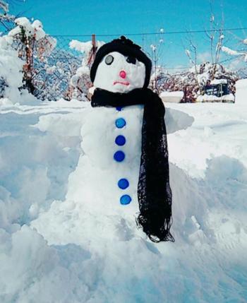 Meet my snowman ⛄ #love  #snowflakes #snowfall #snowman  #roposo-lov  #weather #loveness #snowing