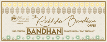 FabCouture.in presents The Raksha Bandhan Offer exclusively for all the #Sisters out there. This Raksha Bandhan get Rs.150/- flat discount on the minimum purchase of Rs.1000/-.  COUPON CODE : BANDHAN  Get your favorite fabrics from your favorite online fabrics store. Offer valid for a limited period only.  #BeCreative & Make People #Envy with your #Style and #Design #RakshaBandhan #StylishWomen  #AffordableFashion #SummerFashion #Style #Creative #RealDecimalQuantities #ChooseYourColor #IndianAuthenticFabrics #GoEthnic #FabricsForAll #CustomPrints #CustomEmbroideries #CustomFabrics #MixNMatch #BeATrendsetter