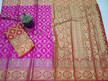 Fabulous Festive Saree... Heavy pallu Banarasi Silk. Blouse : Cotton Jacquard Call or WA 98254 42027 Length : 6.30 mtr with blouse Rs. 1000/- #sarees #banarasisilk #ladieswear #rich #be-fashionable #thebazaar #lifestylepost #indianlook #traditional #nari-in-sari #ethnic #jacquard #designerblouses #heavy