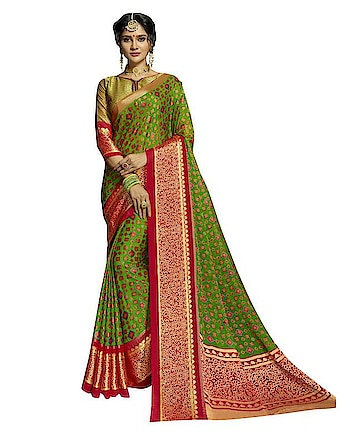 Stand Out From The Rest Of The Crowd Wearing This Parrot Green & Red Coloured Saree From Viva N Diva. Made Of Brasso Chiffon, This Saree Is Quite Comfortable To Wear. The Subtle Woven Makes This Saree Look Even More Beautiful. This Saree Measures 5.50 M And It Comes With A 0.80 M Blouse Piece.  ✔ #Viva #N #Diva #Parrot #Green #And #Red #Colored #Chiffon #Brasso #Saree ✔ Shop https://bit.ly/2PWLd8z ✔ Price: Rs. 1799/- ✔ Product Code: 1267-26796 ✔ Call or Whatsapp: 9582775828
