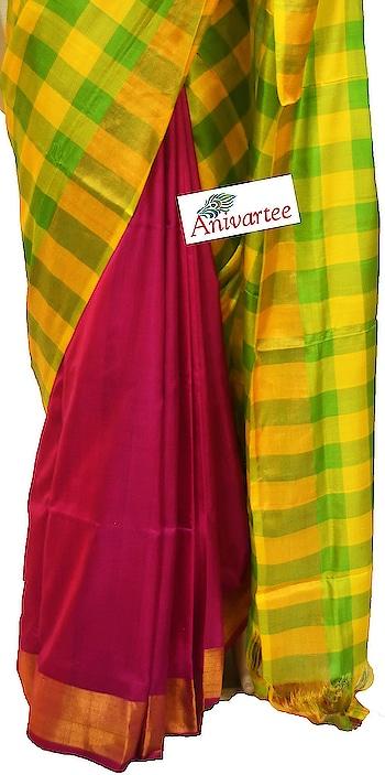Uppada pure silk saree half & half style  in checks pattern. Code: UPD005056 Contact : +91 88612 55270 ,+91 87921 77606 Write to: anivartee108@gmail.com http://www.facebook.com/anivartee  Bangalore #uppadasilksarees #uppada #uppadasarees #saree #sari #ethnicwear #indianwear #handloomsilk #handloomsarees #handloomsilksarees #handwovensarees #handloom #roposo-fashion #telugu-roposo #roposo-telugu #roposo-tamil