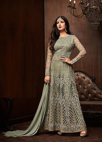 Trend alert- Bold ruffles and Elegant Embroidery are statement makers this festive season, just like this pretty #Greenishgrey Party Wear Suit with Starring #Sonalchauhan @ https://goo.gl/5kv1gx #celebritystyle #indianfashion #Green #Grey #bollywood #bollywoodactress #designerwear #indiandesigner #bollywoodfashion #ShopNow #Surat #mUmbai #India #USA #unitedstates #Canada #Australia #Dubai #UAE #Mauritius #London #Uk