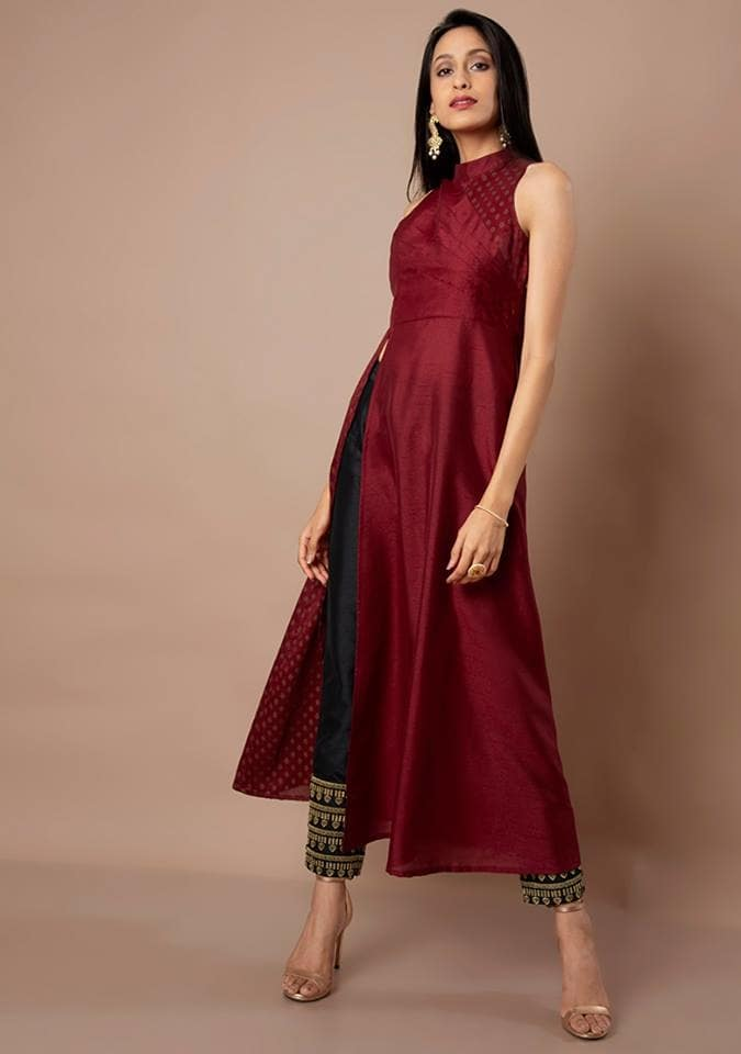 For those of you who like experimental ethnic silhouettes, this gorgeous panel insert silk tunic with a high slit, dipped in a rusty oxblood shade is a match made is heaven. Get it here: https://goo.gl/HA4PWL  #fashion #lookbook #womenwear #ethnic #bestdeals #buy #outfit #fashionupdate #ootd #wiw #bestdresses #bespoke #bridesmaids #bride #groom #wedding #sangeet #asianbride #indianwedding #london #marraige #weddingideas #reception