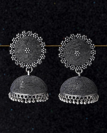 Dome style jhumka earrings, fashioned out of zinc alloy. Oxidised silver plated and can be worn with kurtas, ethnic skirts and sarees. This piece of jewelry comes with the Voylla assurance of quality and durability.  https://www.voylla.com/products/trinket-collection-dome-jhumka-earrings  For more: https://www.voylla.com  #oxidized #oxidizedjewelry #oxidizedsilver #earrrings #earringsoftheday #earringlove  #silver #silverjewellery #newcollection2018 #newearrings #voylla #voyllacelebration #jhumkas #jhumkalove
