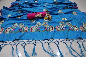 Pretty Pallu with embroidery and rich tassels...... Blouse fabric : Banglori silk with embroidery price : Rs. 900/- free shipment Contact or WA 98254 42027 5 colors #silksaree #traditionalsaree #ethnic-wear #bridal-fashion-designer #sarees #indian-festival #sellonline #onlinedeals #thebazaar #women-style #fashionforweddings
