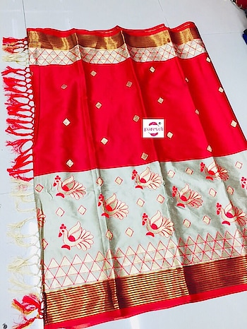 Pure Silk Cotton with matching tassel....... Price : Rs.1200/- Contact or WA : 98254 42027 7 colors #silksaree #wedding-outfits #bridal-fashion-designer #fashionstatement #sellonline #onlinestore #nari-in-sari