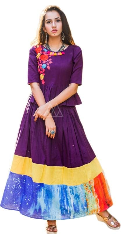Purple Skirt Top With One Side Embroidered Embellished With Tassels Added With Digital Print.  ✔ #Purple #Skirt #Top #With #One #Side #Embroidered ✔ Shop https://bit.ly/2OckoMk ✔ Price: Rs. 1899/- ✔ Product Code: 1278-PRN5138 ✔ Call or Whatsapp: 9582775828