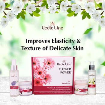Vedicline Flower cosmetics have carefully chosen floral extracts, popular in different countries for bringing joy to heart. These are also enriched with oils, vitamins, minerals & antioxidants.  Benefits  • Vitalizes skin • Improves Elasticity & Texture of delicate skin. • Perfect for delicate skin.  #SkincareRegime #BrighteningSkin #AyurvedicTreatment #NaturalIngredients #Vedicline #EssentialAyurveda #Cosmetics #Skincare #MustHaves #FlowerFacial #BestFacialKit
