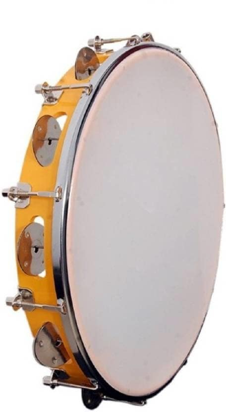 """Tilak Raj & Sons 20 cm With Head Tambourine  (Plastic, Metal)  The tambourine is a musical instrument in the percussion family consisting of a frame, often of wood or plastic, with pairs of small metal jingles, called """"zils"""". Classically the term tambourine denotes an instrument with a drumhead, though some variants may not have a head at all. It is handy to play and vibrant in sound which can make your party more enthusiastic and music more enchanting. The frame is carved out of hardwood or metal and plenty of ringlets of metal are attached to it.  #musical #instruments #accessories #highquality #tamborine #reeds #strings #guitarstrings #saxophone #capo #pick #guitarpick #designer   Buy Now:- https://bit.ly/2OjJPLT"""