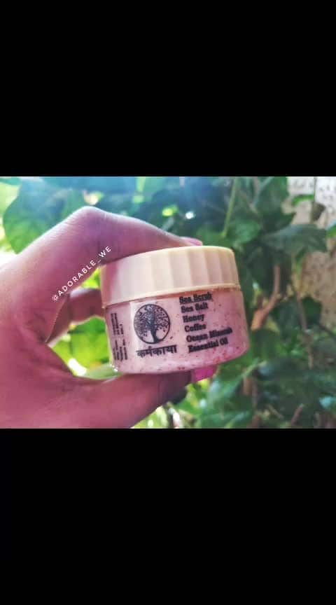 😀Today we are reviewing the second product from @karmakaaya and its their Sea Scrub😀 . . 👉Product Name :- Sea Scrub . . 👉About the product:- This Sea Scrub fron Karmakaaya is enruched with natural ingredients and essentail oil that helps to get rid of the dead skin. . . 👉Ingredients:- Sea salt, honey, cofffee, ocean minerals and essentail oil . 👉Weight & Price:- Nothing given ( i am assuming the weight to be 50 grams) . 👉How to use:- 1. You can use it all over your body usually during a bath. . 👉Impressions:- 1. The ingredients of this product are complete natural and paraben free which makes this product a worth try. 2. It has a mild fragrance of sea salt. 3. The scrub has small granules that helps to get rid of the dead skin. These granules are not at all harsh to the skin. 4. Yes it did help me to get soft and smooth skin which means it helped me to remove the dead skin . . 👉Improvement Area:- 1. The consistency is an issue for me. Sincee the scrub is in liquid form it does becomes a little difficult to work with it on the skin. 2. Information about weight and price was missing. . . #adorablewe #pikreview #karmakaaya #skintips #skincaretips #bithursbi #beauty #naturalproducts #bodyscrub #seasalt #beautyblogger #collaboration