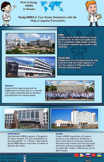 Study MBBS Abroad is your dream...pack your bag...get ready for settle in Abroad. Jagvimal Consultants offered to study MBBS in China, Philippines, Kazakhstan, Georgia, Ukraine, Russia for Indian students at low price.   For more info. visit - https://www.jagvimal.com/
