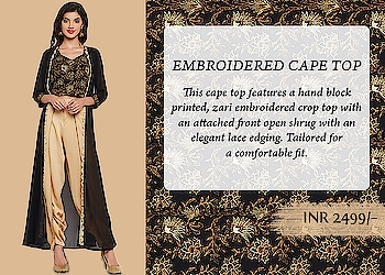 Make a style statement with this georgette cape top. This cape top features a hand block printed, zari embroidered crop top with an attached front open shrug with an elegant lace edging. Tailored for a comfortable fit, this crop top comes with lining and a side zipper. Team it up with a block printed lehenga skirt and a box clutch for that perfect festive look.   https://9rasa.com/collections/sr-tops-tunics  #9rasa #studiorasa #georgette #blobkprint #zari #cape #top #dhoti #ethnic #contemporary  #fashion #like #comment #share #followus #like4like #likeforcomment #like4comment #festival