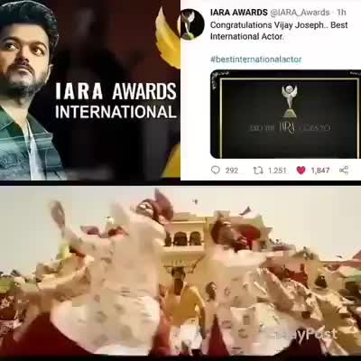 Awww Goosebumps Moment For Thalapathians 💃💃  Let's Celebrate , Thalapathy Won Best International actor award from IARA Awards  🔥🔥  #BestInternationalActorVijay #MersalIsOurPride