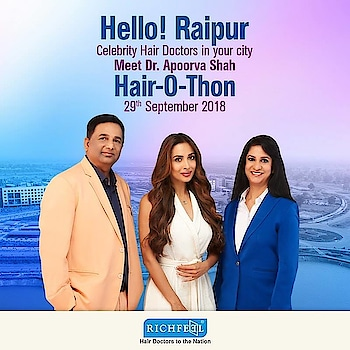 Hair Doctors to the nation will be in your city Raipur on 29th September! Don't miss the chance to get a solution to all your #Hair & #Scalp problems!  Call : 7900082222