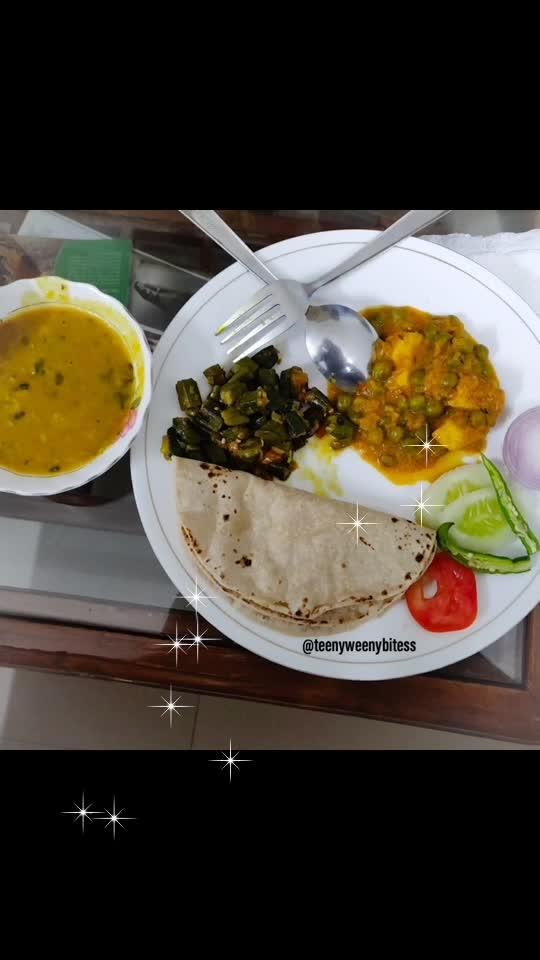 Ghar jaisa khana.. #Dinner In the plate daal, matar paneer, bhindi (Okra), roti and salad. .