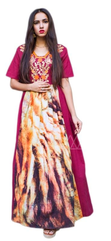 Magenta Pink Colored Linen Long Maxi Dress With Embroidered Yoke Added With Animal Print Flair.  ✔ #Magenta #Pink #Colored #Linen #Long #Maxi #Dress ✔ Shop https://bit.ly/2QccrqP ✔ Price: Rs. 1899/- ✔ Product Code: 1279-PRN5139 ✔ Call or Whatsapp: 9582775828