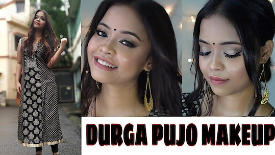 DURGA PUJA MAKEUP TUTORIAL 2018    pujo series # 1    Kolkata India  #durgapujomakeup #durgapujo2018 #durgapuja2018 #durgapujamajeuplook #kolkatablogger #kolkata