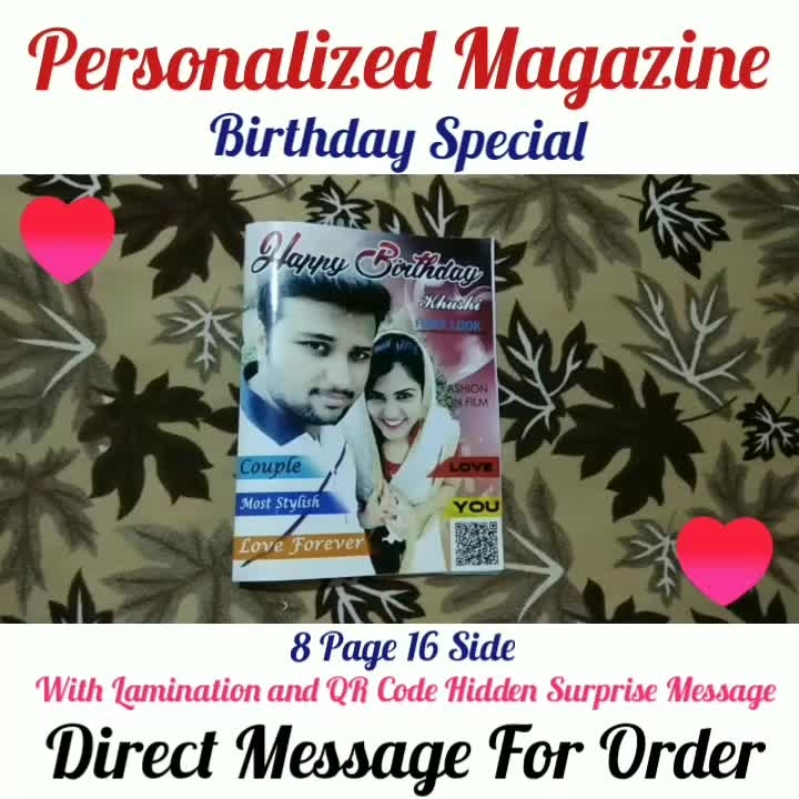 Personalized Magazine❣️ With QR Code Hidden Surprise Message and Lamination Love Special🎁 Anniversary Special🎁 4 Page 8 Side And 8 Page 16 Side Available Direct Message For Order @photo_art_store @gifts_shopping_time  @gift_online_store  @personalized_magazine Special🎁🎁🎁🎁🎁😘 😍SPECIAL PERSON😍 Keep Ordering😍😍 Birthday Couple Friendship Family Anniversary 😍😍 😍 DM for Order . #surprises#specialgift#happybirthday#birthdaygift #birthdaygifts#customisedgifts#uniquegifts #giftsforher#giftsforhim#giftsforcouple #personalisedcards#greetingcards#mosaicstories#colorful#memories#moments#friends#birthday#anniversary #weddings#gifts#customized#personalized  #photo_art_store #gifts_shopping_time  #gift_online_store  #personalized_magazine
