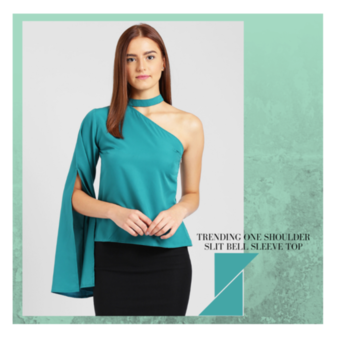 Feel young forever in this combination of slit bell sleeve, one shoulder with choker neck top. . . . #trendarrest #trendyoutfits #trendsetters #westernwear #likeforlike #followforfollow #fashionworld #fashionista #bellsleeves #chokernecklove #summerfashion #summerlove #thursdayvibes #color #love #postoftheday