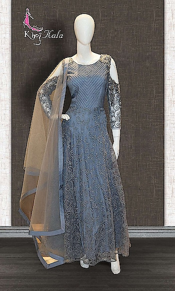 Grey Raw Silk Anarkali Suit http://www.khojkaladesign.com/bollywood-style/grey-raw-silk-anarkali-suit.html  SKU: KHOJ7270 ₹8,904  #anarkali #anarkalisuit #anarkalidress #anarkalidresses #anarkalidressesuk #anarkalisonline #anarkalisuitsonline #anarkaligown #anarkalionline #anarkalisalwarkameez #anarkalistyle #anarkalilove #anarkalisuitswithprice #anarkalisalwar #handwork-embroidered-bridal-anarkali #Khojkala