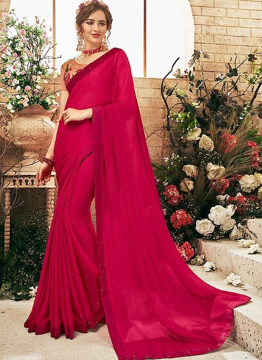 Fabric :- Georgette  Work :- Plain  Buy Now :- https://tinyurl.com/y827tn3b  Whats App :- +91 7621863000  #saree #partywear #casualwear #designer #weddingwear
