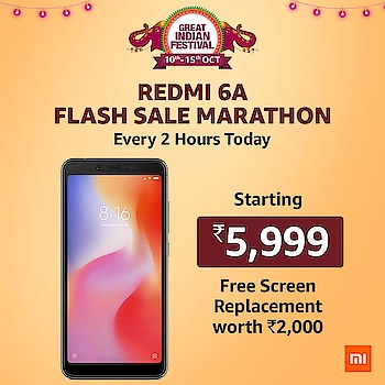 Redmi 6A flash sale live every 2 hours today only at the #AmazonGreatIndianFestivalLive. #amazonin #amazonindia @amazonIN #couponZeta @RedmiIndia  Check Offers @ https://bit.ly/2RzML99