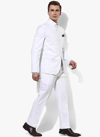 Hangup White Men Formal Suit ₹2099  Fit : Regular Fit Occasion : Formal Wear Neck Type : Collar Neck Type : Suits Material : Blended Ideal For : Men Pack Of : 1 Closure : Button