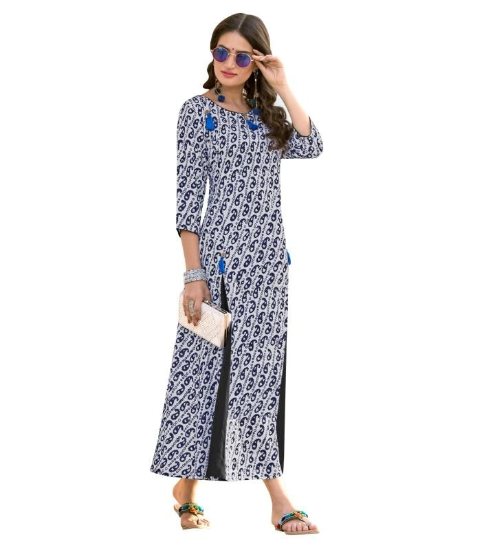 Unlock The Secret Of Ultimate Comfort Wearing This Off White & Black Coloured Printed Kurti. Made From Heavy Rayon, This Kurta Is Light In Weight And Perfect For Daily Wear. This Attractive Kurta Will Surely Fetch You Compliments For Your Rich Sense Of Style.  ✔ #Off #White #And #Black #Colored #Heavy #Rayon #Printed #Kurti ✔ Shop https://bit.ly/2OlQQ2N ✔ Price: Rs. 1399/- ✔ Product Code: 1365-26886 ✔ Call or Whatsapp: 9582775828