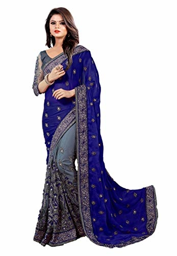 Arohi Designer Satin & Net Half N Half Embroidered #Saree with #blouse piece @ Rs.1529. Buy Now at http://bit.ly/2RPdC1p