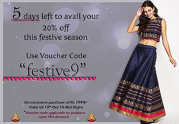 "Festive season is just around the corner and Studiorasa has the perfect outfit lined up for you. Shop now to avail this special offer.  Use code - ""feative9"" and get your look now www.9rasa.com  #9rasa #ethnic #studiorasa #indowestern #skirt #embroidery #tassles #celebration #festive #youth #handmade #gold #silver  #sale #newarrivals #fall #fashion #offer #voucher"