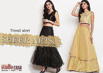 """sheer is in""   https://9rasa.com/collections/sheer-nets  #9rasa #ethnic #studiorasa #indowestern #skirt #embroidery #tassles #celebration #festive #youth #handmade #gold #silver  #sale #newarrivals #fall #fashion #sheer #net #sheernet #trendalert"