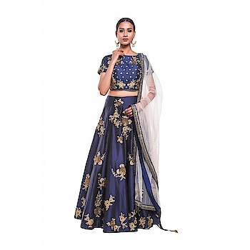 Pushp Paridhan Party Wear Traditional Ethnic Wear Machine With Handwork Navy Blue Lehenga Choli Set For Women (Size - Small)  to buy click on this link:- https://bit.ly/2wMI3wh  #lengha #lenghacholi #partywearlengha #lenghaforgirls