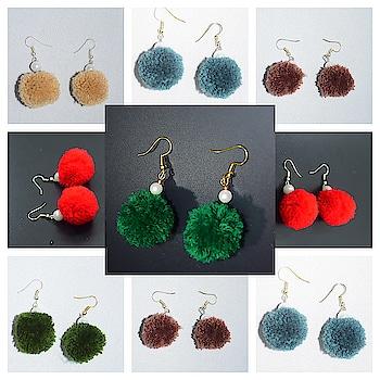 These  all  handcrafted drop earrings made up of  woollan,What's up to order 9820408112 #earrings #dasarafestival #colourful #pearl #woollen #woolen #lightweightjewelry #dropearrings  #danglerearrings  #partywear  #officewear  #casullook