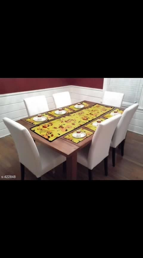 *Unique Printed  Laminated Non Woven Dining Table Runners*  Material: Laminated Non woven  Dimensions: Long Table Cover - 54 in X 13 in, Short Table Cover - 19 in X 12.5 in  Description: It Has 1 Piece Of Long Dining Table Cover & 6 Pieces Short Dining Table Cover  Work: Printed  Dispatch: 2 - 3 Days  Designs: 16  Easy Returns Available In Case Of Any Issue *CASH ON DELIVERY AVAILABLE*  #ajmer  #orderonline  #clientdiaries  #jaipur  #onlinshop #onlineshoppingindia  #homedecorating  #onlinedeals  #onlineshoppingstore  #indianshopping  #homedecor  #homedecorating  #home-decor  #ordernow   #onlinesale