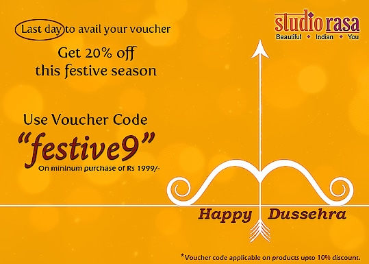 "Last day to avail coupon. ""Hurry""   Happy Dussehra...  www.9rasa.com  #9rasa #studiorasa #outfits #occasion #occasionwear #contemporary #ethnic  #embroidered #like #share #follow #girls #navratri2018 #happynavratri2017 #festival #dussehra #dussehrasale #dussehrautsav2018"