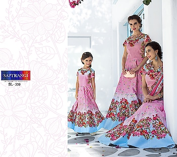 Shop #mother-daughter #matchingoutfit #2in1 Lehenga + Gown for #girls as well #indainwear  @ ArtistryC.in  Flaunt latest styled cuts and look with these Indian Dresses, Give yourself the stylish look for Rich Traditional Indian #Weddings.  > Have a look now :D #partystate #Shaadiseason #bff #Happyvibes