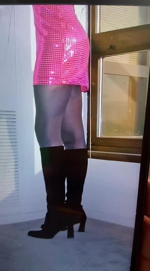 Please like, share and gift. Exclusive photo. Paul Alf's skinny minidress. #minidress #cute #copy #mini #dress #daring #fashion #share #short #shortdress #cutedress #skinny #legs #boots #kneeboots #tights @paulalf #cutelegs #awesome #hot #pink #black #tights #exclusive #pinkandblack
