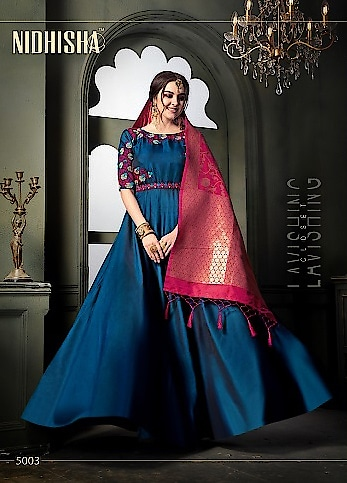 Nidhisha Gown With Banarasi Dupatta Wholesale Catalog Price per Piece :- ₹1,595 + ₹80 (GST 5%) Total Design :- 4 Pcs  Bottom :- Santoon Dupatta :- Banarasi Upcoming Date :- 22/10/2018 Product link :- https://castillofab.com/nidhisha-wholesale-tapeta-silk-gown-with-dupatta-supplier -------------------------------------------------------- Call/whatsapp :- +91 8530 23 23 30 Visit our website :- www.castillofab.com -------------------------------------------------------- #gown #designergown #heavygown #longgown #simplegown #plaingown #bluegown #blackgown #latestgown #gowndesign #onlinegowns #gownatbestprice #suratgown #onlineshopping #wholesale #export #castillofab