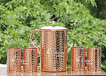Hammered Pure Copper Pitcher( 2 liter)  and Four Tumblers Set