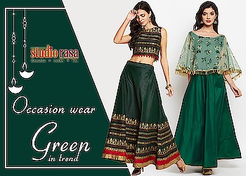 Go Green with envy with the colour of the season  https://9rasa.com/collections/green-collection  #9rasa #studiorasa #outfits #occasion #occasionwear #contemporary #ethnic #embroidered #like #share #follow #girls #festival #diwali #deepawali #diwali2018 #green #occasion #occasionwear #trendy #season #net #cape
