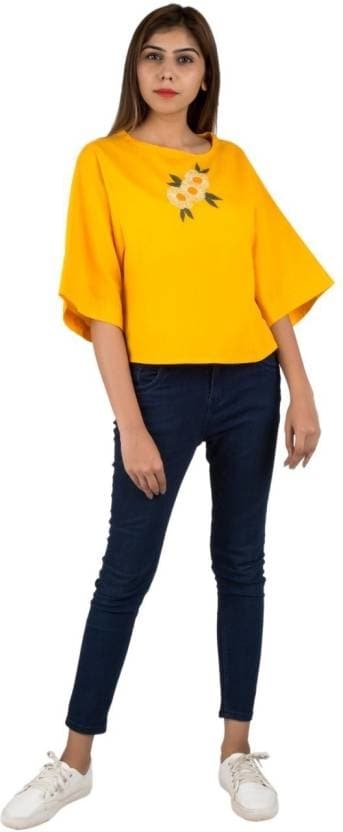 IFONLY Casual 3/4th Sleeve Embroidered Women's Yellow Top Product Link:-https://bit.ly/2EzWidY  Click for more option:-https://bit.ly/2AnKWWA  #top #topforwomen #girlstop #casualtop #designertop #khaditop #partyweartop